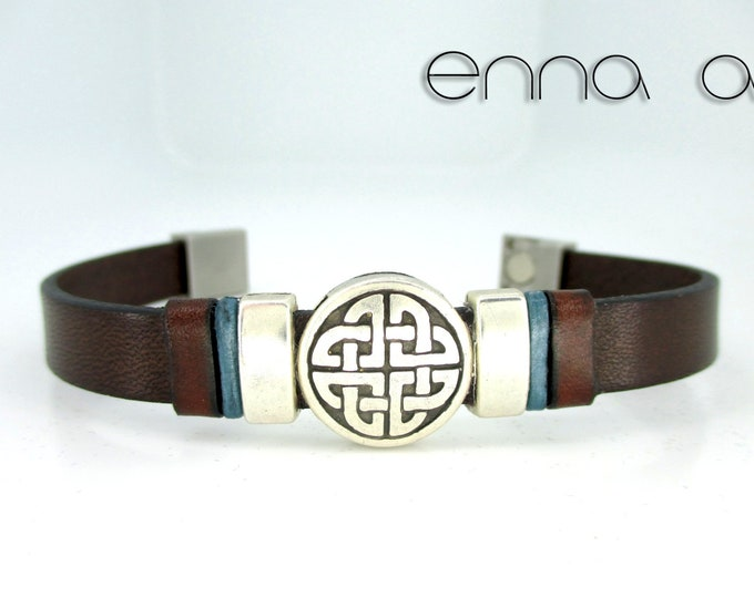 Brown leather bracelet, Celtic bracelet, N2, Leather wristband, birthday gifts, men gifts, man bracelet, men accesories, leather accessories