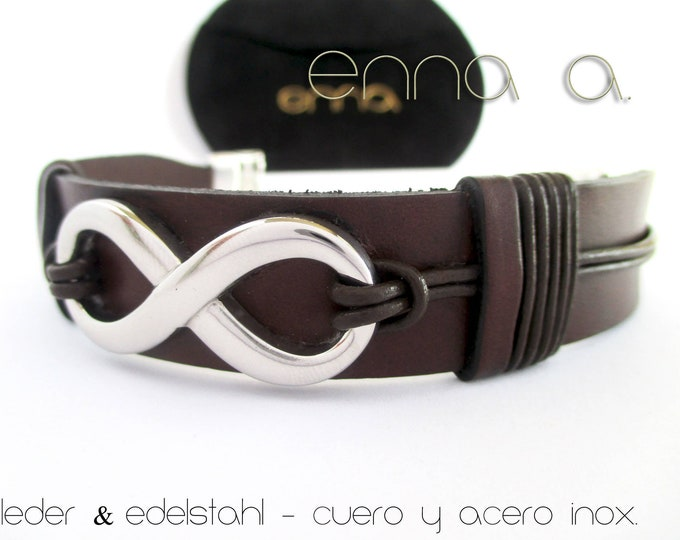 Infinity leather bracelet, N 1, stainless steel bracelet, unisex bracelet, man bracelet, birthday gifts, leather accessories, jewelry, gifts