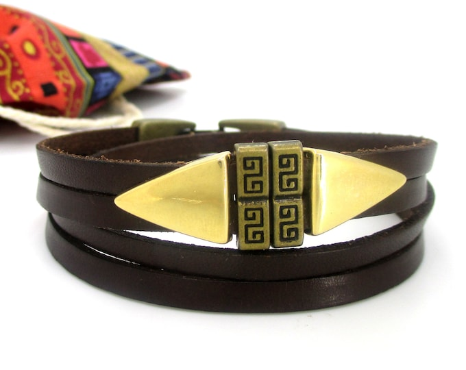 Double brown leather bracelet, gift for men and women, unisex