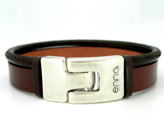 Bracelet with two leathers one plain and another stitched dark brown, men's bracelet, male style, anniversary gifts, birthdays, Christmas