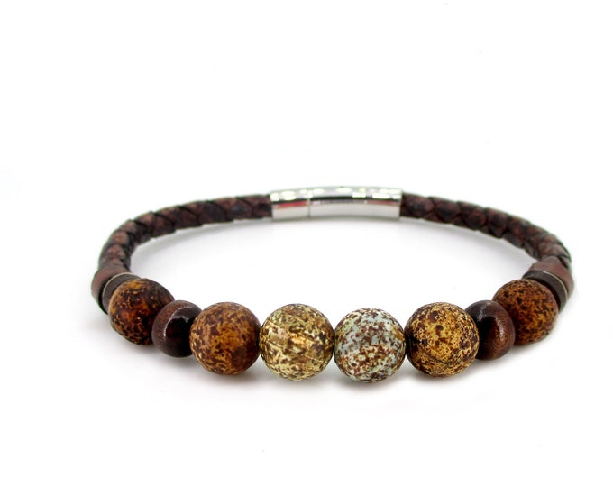 Genuine leather, jasper stone and wood bracelet, leather boho accessories, unisex bracelet, handmade gifts for him, brown leather wristband