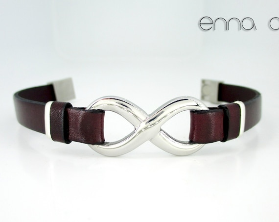 Maroon leather infinity bracelet, leather mens bracelet, birthday gifts, men gifts, anniversary gifts, men accessories