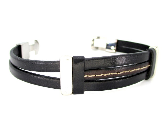 Black leather bracelet, leather wristbands, exclusive gifts for man, mens bithday gifts, genuine leather accesories, man fashion bracelets