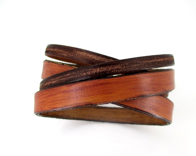 Aged brown leather bracelet, mens accessories, genuine leather jewelry, boy boho fashion, gifts for him, genuine leather laps wristband