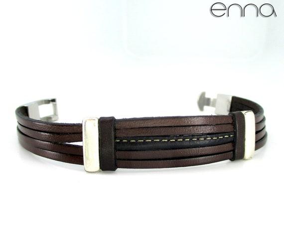Brown leather men's bracelet, accessories gifts man, unisex, wedding, anniversary, birthday, Christmas, New Year