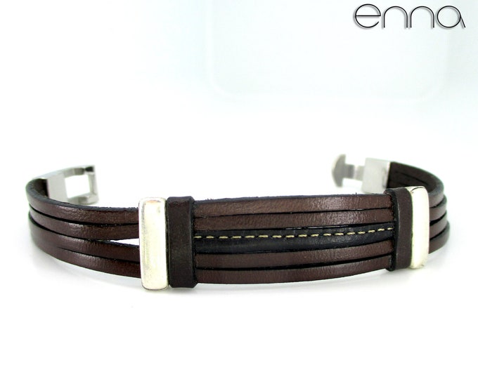 Brown leather men's bracelet, accessories gifts man, unisex, wedding, anniversary, birthday, Christmas, New Year