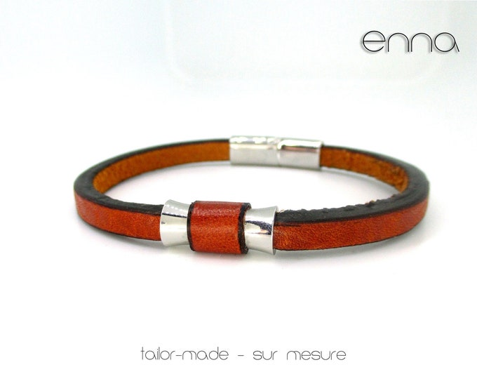 Genuine leather and stainless steel bracelet, mens bracelet, male accessories, gifts for him, boho mens accessories, exclusive man jewels