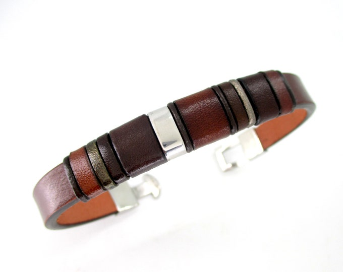 Unique brown leather bracelet, Personalized men's gift, birthday, anniversary, handmade accessory, unisex, exclusive leather upper.