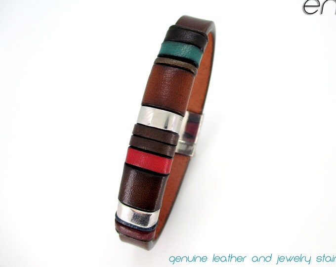 Handmade genuine leather bracelet, exclusive design, gift for him, jewel of exclusive design for men, colors bracelet, fashion jewel for men