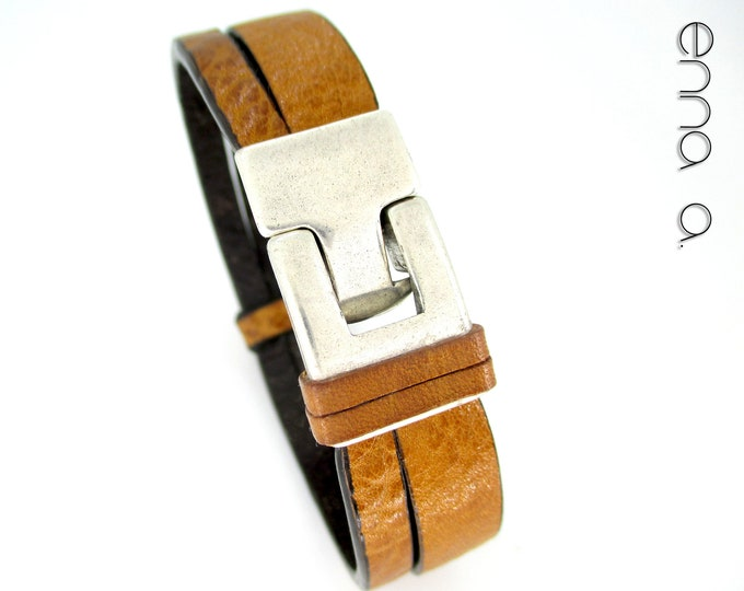 Light brown leather bracelet, men's bracelet, masculine style, anniversary gifts, birthday, Christmas