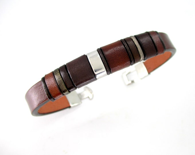 Brown genuine leather bracelet, leather wristbands, mens birthday gifts, leather accessories, exclusive bracelets, mens luxury fashion
