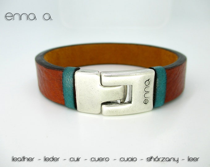 Brown and blue leather bracelet, man bracelet, male style, anniversary gifts, birthday, Christmas