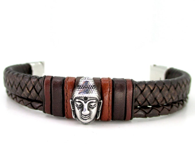 Brown braided double bracelet Buddha