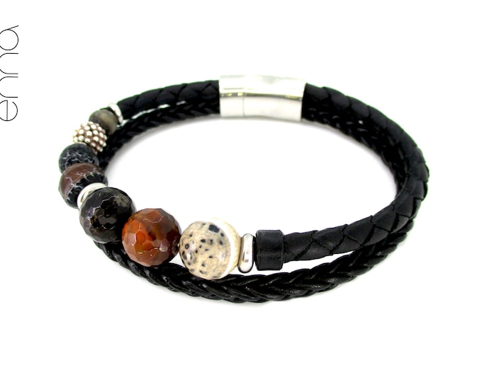 Genuine leather bracelet, onyx stone, silver and stainless steel, leather and stone accessories, unisex unique bracelet, men handmade gifts