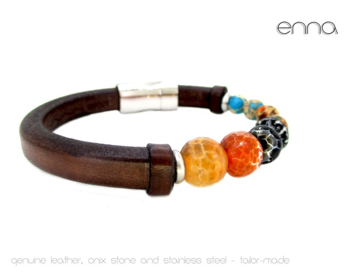 Genuine leather bracelet, onyx stone and stainless steel, exclusive design, birthday gift bracelet, leather accessories, onyx stone