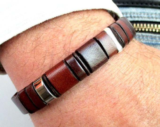Brown leather bracelet, stainless steel and silver wristbands, mens accessories, genuine leather jewelry, mens fashion, gifts for him, EC 19