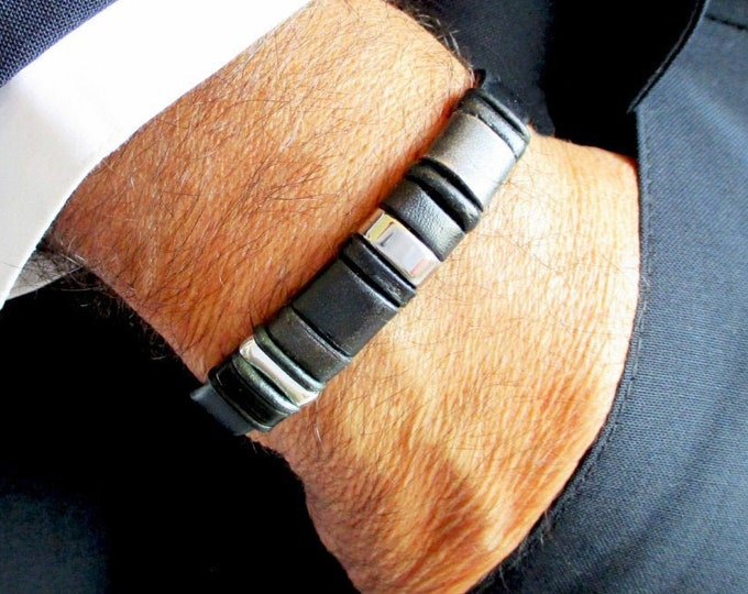Mens genuine black leather bracelet, exclusive Christmas gift bracelets, luxury handmade wristbands, leather and silver accessories, EC. 4
