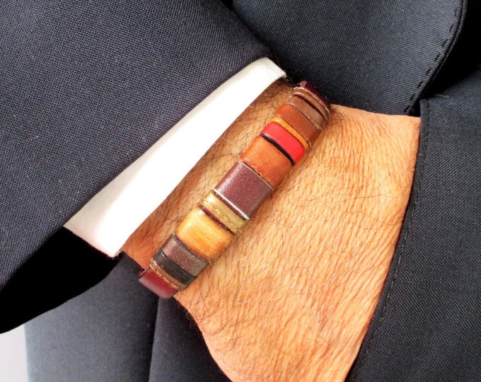Bordeaux leather bracelet ENNA basic N.2