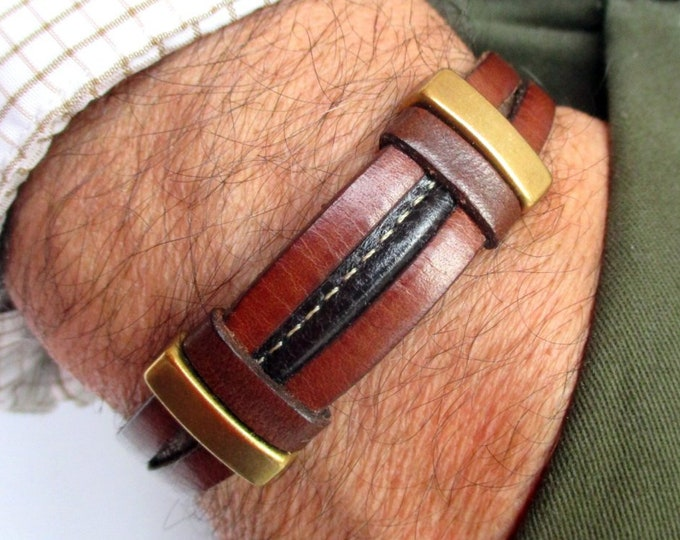 Brown leather bracelet, Leather wristband, birthday gifts, men gifts, leather accesories, fashion bracelet, male accessories, brown leather