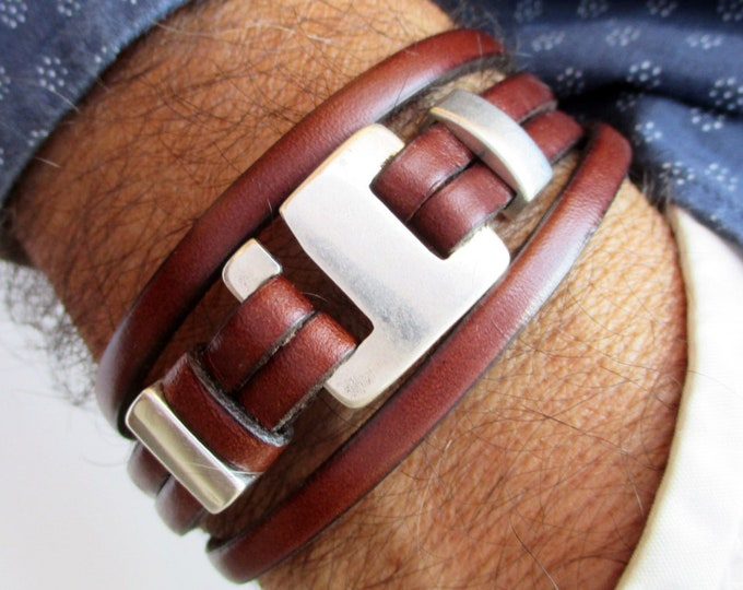 Double leather bracelet, N1, brown leather bracelet, leather wristbands, mens accessories, leather accessories, unisex bracelets, men gifts