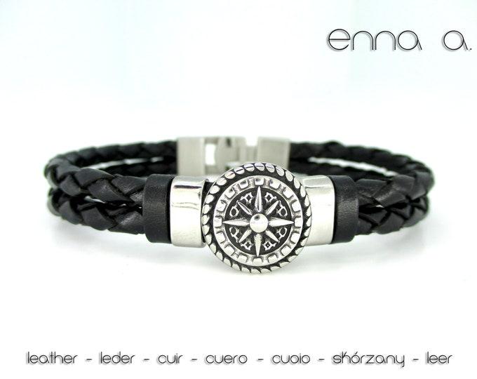 Black leather bracelet, black braided leather bracelet, leather man bracelet, birthday gift, stainless steel bracelet, man accessories
