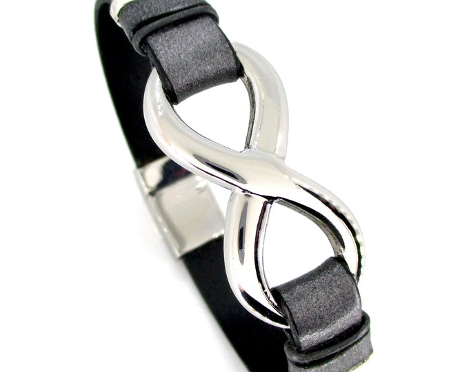 Infinity bracelet, stainless steel and gray leather infinity bracelet, men's leather bracelet, birthday gift, unisex gift, anniversary