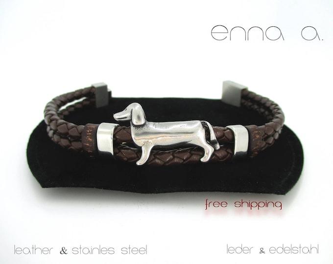 Brown leather bracelet, leather accessories, unisex bracelet, gift for him, stainless steel bracelet, bracelet with dog, best friend