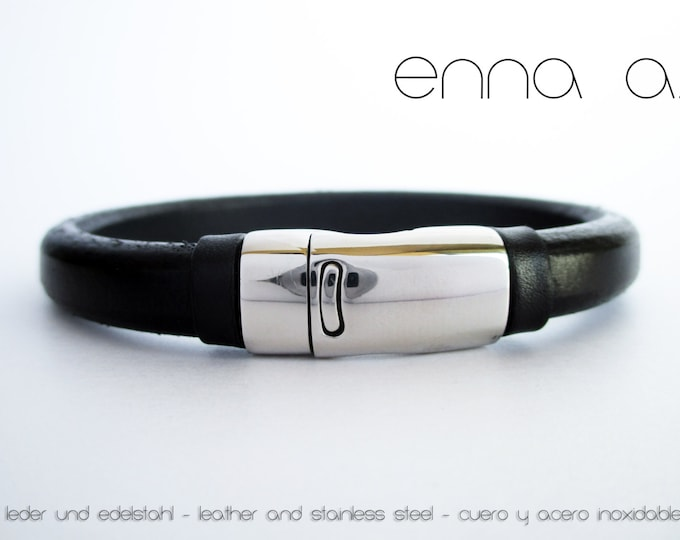 Bracelet man, black leather licorice
