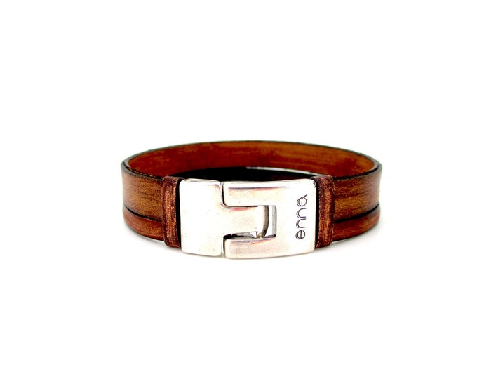 Vintage brown leather bracelet, handmade, men's bracelet, masculine and unisex style, anniversary, birthday, graduation and christmas gifts.