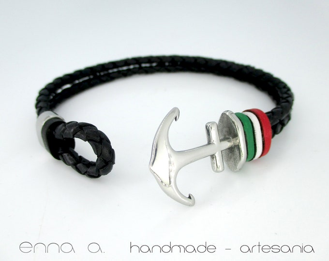 Italian Republic Flag, Anchor leather bracelet, black wristband, braided black leather, leather bracelet, mens gift, mens accessories