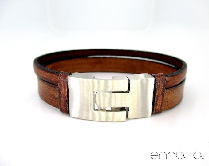 Brown vintage leather bracelet, handmade accessory, mens bracelets anniversary, birthday, graduation, mens fashion bracelet, vintage leather