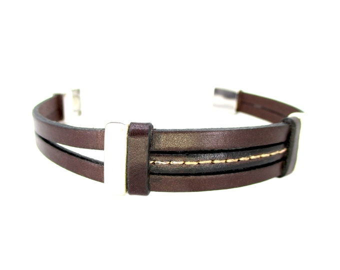 Brown leather bracelet, leather wristbands, exclusive gifts for man, mens bithday gifts, genuine leather accesories, man fashion bracelets
