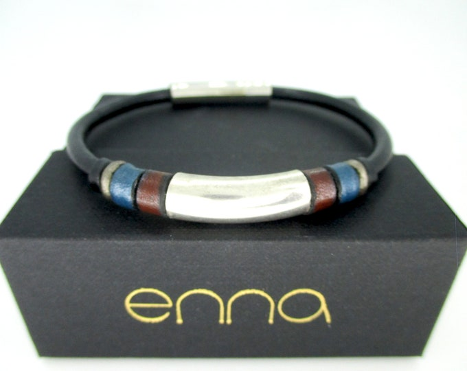 Black leather bracelet Nature, Leather wristband, man gifts, brown bracelet, colors bracelet, man accessories, unisex bracelet