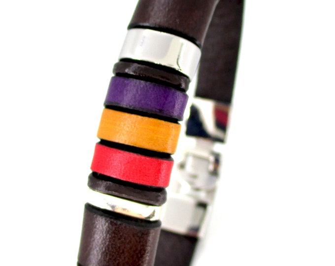 Brown leather bracelet, Spanish republican flag, genuine leather accessories, exclusive accessories for men, Enna clasic, unisex gifts