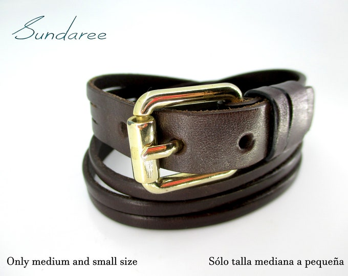 Brown buckle gold bracelet strap, double brown bracelet.