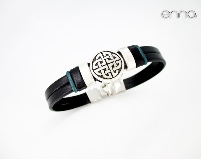 Black leather celtic bracelet, N 3, Leather wristband, birthday gift, man gift, men accessories, black wristband, personalized bracelets