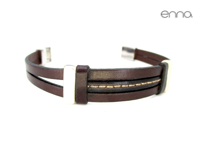 Brown genuine leather bracelet, leather accessories, unisex bracelet, birthday gifts, gifts for him, exclusive designs, mens wristbands