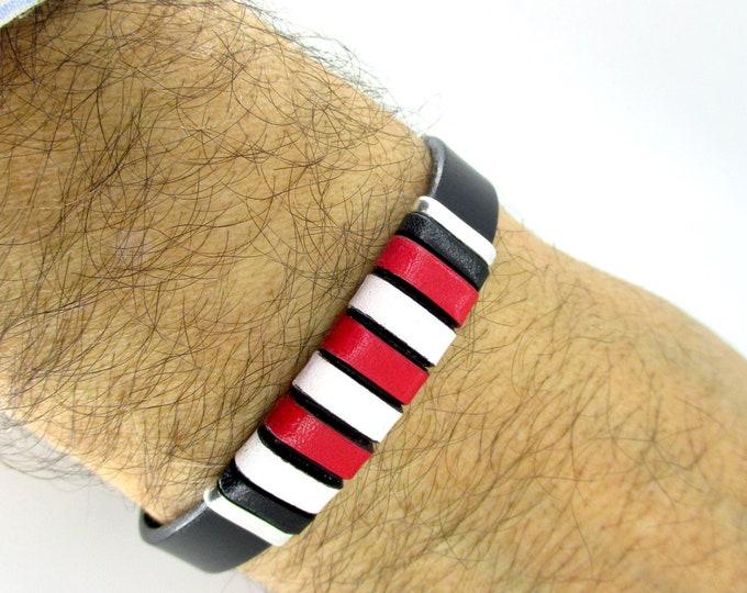 Athletic Bilbao bracelet, black leather bracelet, braided leather bracelet, leather man bracelet, birthday gift, man gift