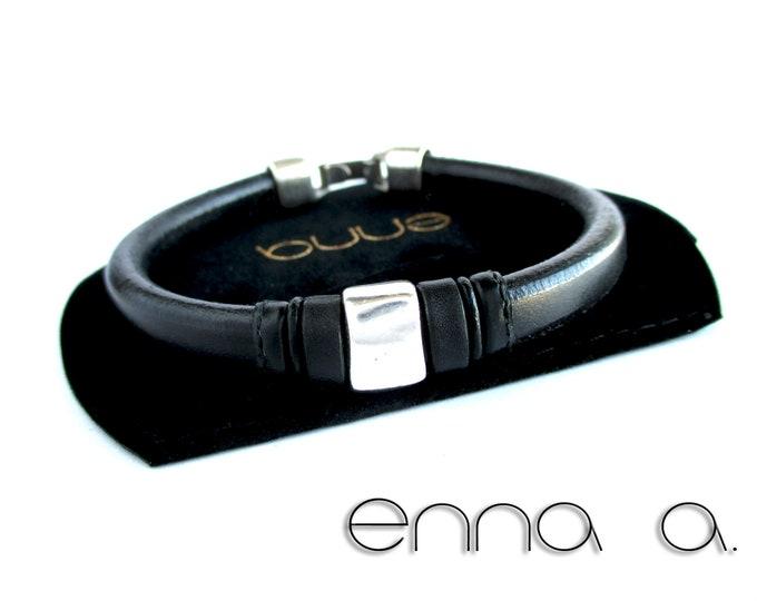Licorice black leather bracelet, braided leather bracelet, leather man bracelet, birthday gift, man gift, stainless steel bracelet, man