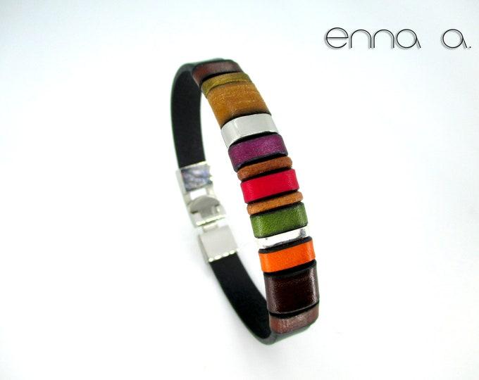 Black leather bracelet, colored bracelet red green orange brown, colored bracelet, accessories gifts man, unisex, wedding, anniversary EC6