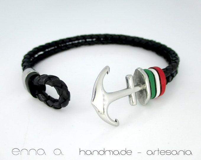 Italian Republic Flag, Anchor leather bracelet, black wristband, braided black leather, leather bracelet, mens gift, mens accessories
