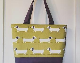 Dachshund bag, dog tote bag, every day bag, shoulder bag, gift for her, gift for dog lover, dog bag, sausage dog bag, bag for women, stylish