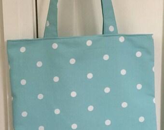 Blue and white spotty bag, polka dot bag, market bag, vintage fabric, book bag, gift for women, birthday gift, cloth bag, college bag