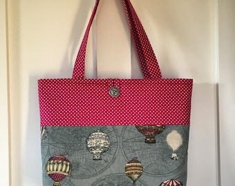 Tote bag cotton, hot air balloon bag, polka dot bag, fabric bag, unique bag, handmade bag, lined bag, steam punk, vintage style bag, funky