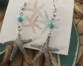 Starfish turquoise bead drop Earrings, Starfish Earrings,Coastal Earrings,Sealife Jewelry