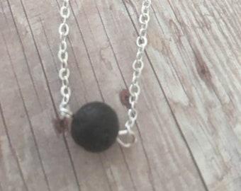 Lava Stone Necklace,Lava Stone oil Diffuser Necklace, Minimalist  Jewelry,Essential Oil Lava Bead Necklace,Aromatherapy Necklace