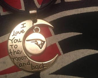 Patriots Necklace,I Love you to the moon and back,Halfmoon Patriot jewelry,New England Patriots,Pats Jewelry,Handstamped,Football