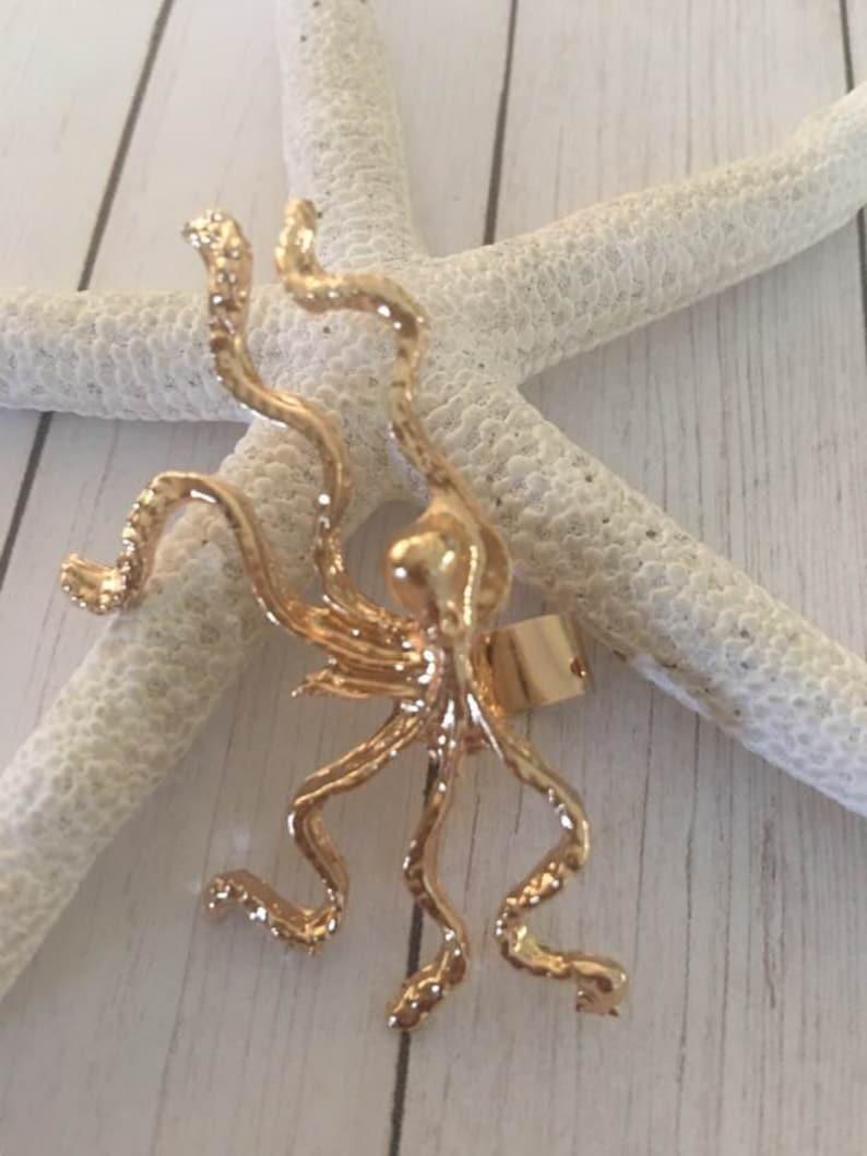 Vulgaris,Cephalopods,Eight-limbed mollusc,Octopoda Ear Cuff Octopus Ear Cuff,Sealife Ear Cuffs