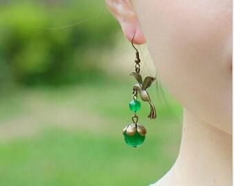 Vintage Hummingbird dangle earrings,fashion,Dangle Bird Earrings, chalcedony beads, Bird Jewelry