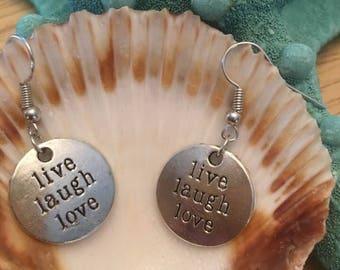 Antique Silver Live,Laugh,Love Earrings,Inspirational Earrings,Handstamped Earrings